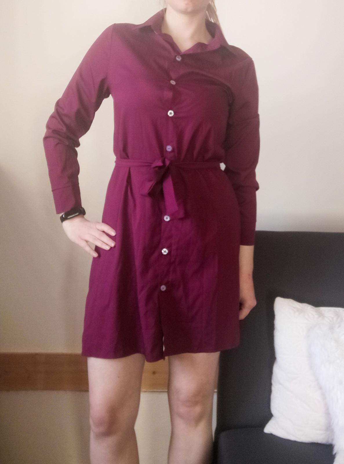 Košilové vínové šaty Erikafashion vel S. - Obrázek č. 1