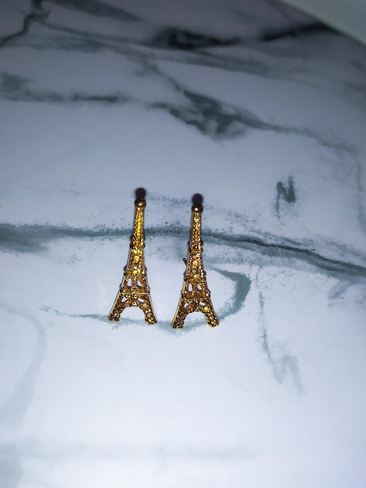 Zlaté náušnice Eiffelova věž - bižuterie - Obrázek č. 1