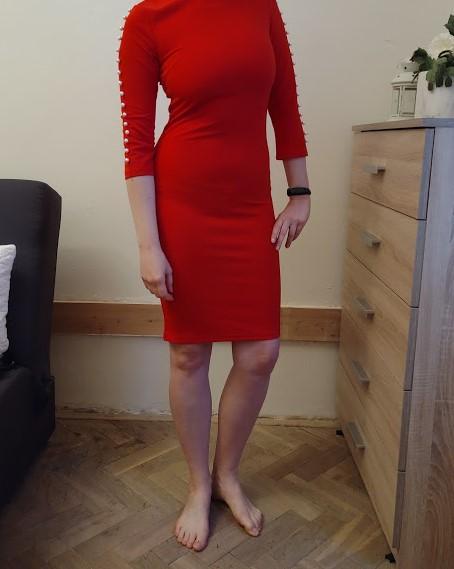 Červené šaty s perličkami na raenou vel. XS - Obrázek č. 2
