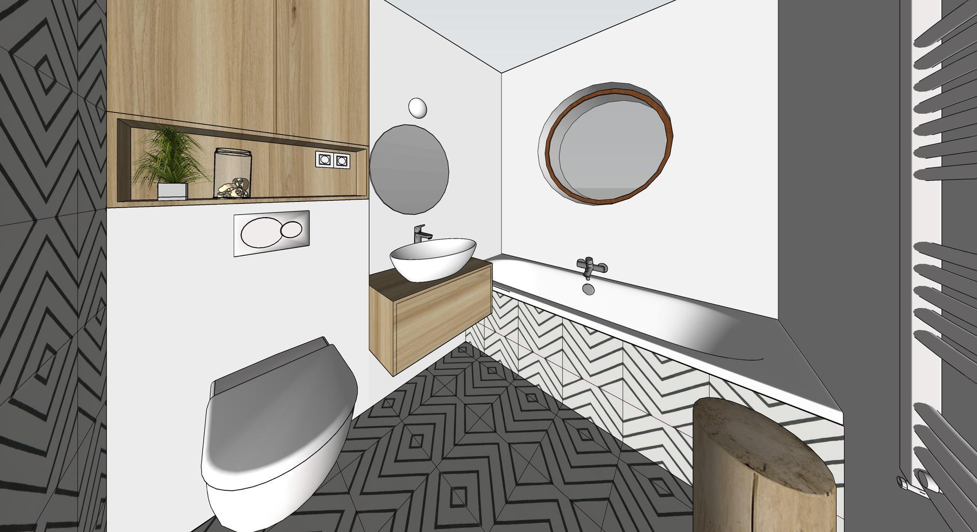 Naša cesta z mesta - Horná kúpelňa vizu - kombinácia obkladu a mikrocementu.