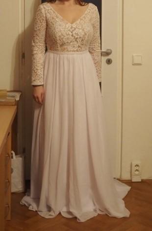 Svatební šaty L/XL bílé s holými zády - nové - Obrázek č. 1