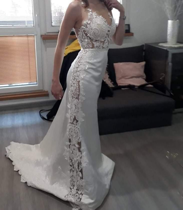 Krajkové svatební šaty vel. XS-S - Obrázek č. 1