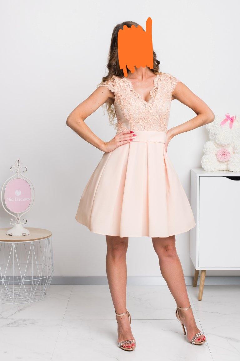 Krátke marhuľkové šaty veľkosť 36 - Obrázek č. 1