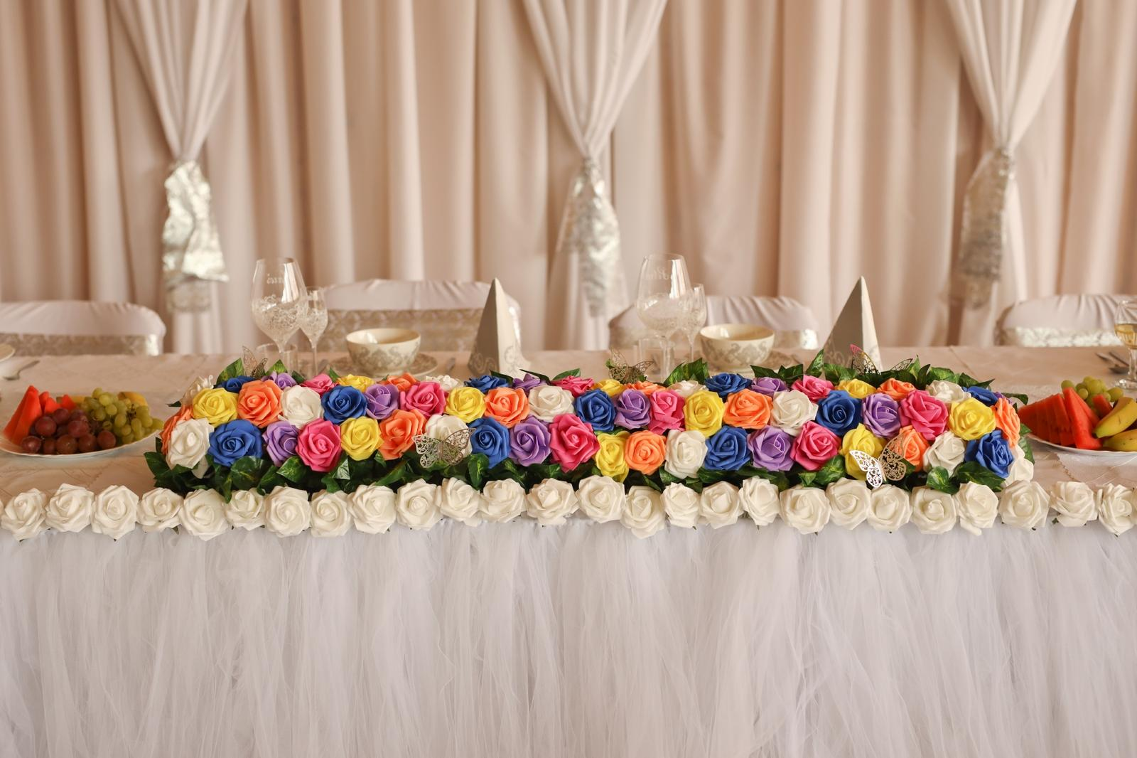 Svadobná výzdoba, ikebana, kvety na stôl, kytica, vence, 3D srdce - Obrázok č. 1