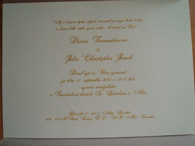 Moja svadba :o) - Oznamenie slovenske