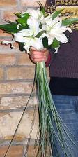 jen 3 květy bílé,královské lilie a zelené lístí k tomu...svázané sisalem
