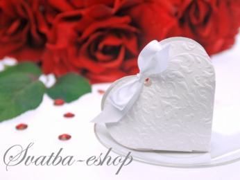 Krabička srdíčko na svatební mandle bílá - Obrázek č. 1