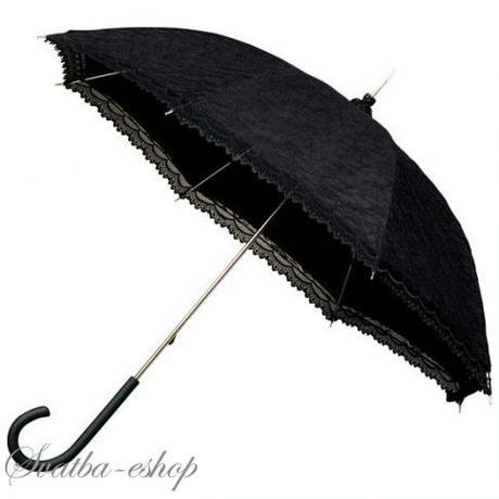 Svatební deštník (paraplíčko) černý krajkový - Obrázek č. 1