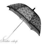 Svatební deštník (paraplíčko) bílo černý krajkový,