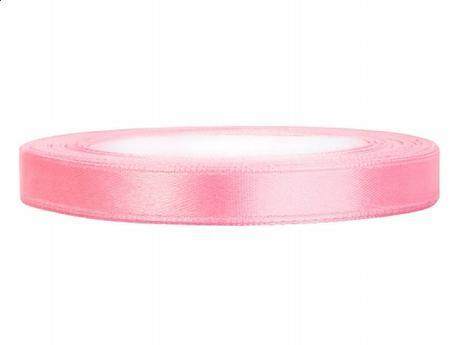 Stuha saténová 6 mm x 25 m světle růžová - Obrázek č. 1