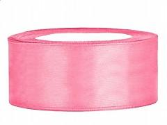 Stuha saténová 25 mm x 25 m růžová - Obrázek č. 1