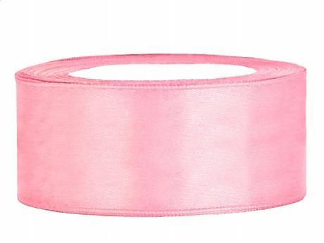 Stuha saténová 25 mm x 25 m světle růžová - Obrázek č. 1