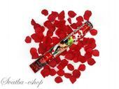 Vystřelovací konfety burgundy plátky růží 40 cm,