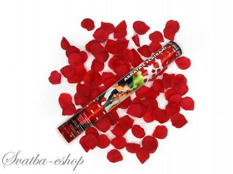 Vystřelovací konfety burgundy plátky růží 40 cm - Obrázek č. 1