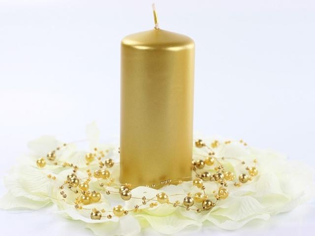 Svíčka válec zlatá 60mm x 120 mm - Obrázek č. 1