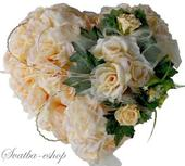 Kytice na svatební auto - srdce ivory,