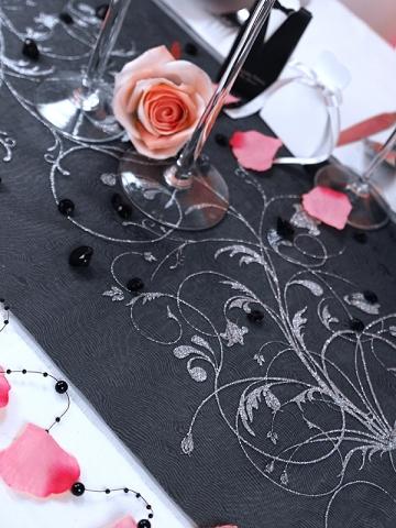 Organza 36 cm x 9 m černá s ornamentem - Obrázek č. 2