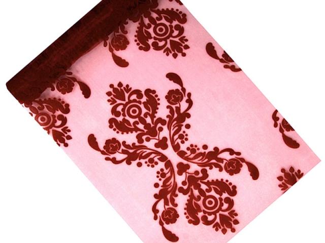 Organza 36 cm x 9 m burgundy s ornamentem - Obrázek č. 1