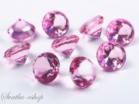Dekorační diamanty 20 mm růžové - Obrázek č. 1
