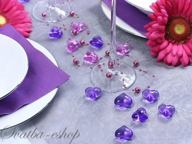 Dekorační srdíčka fialová - Obrázek č. 1