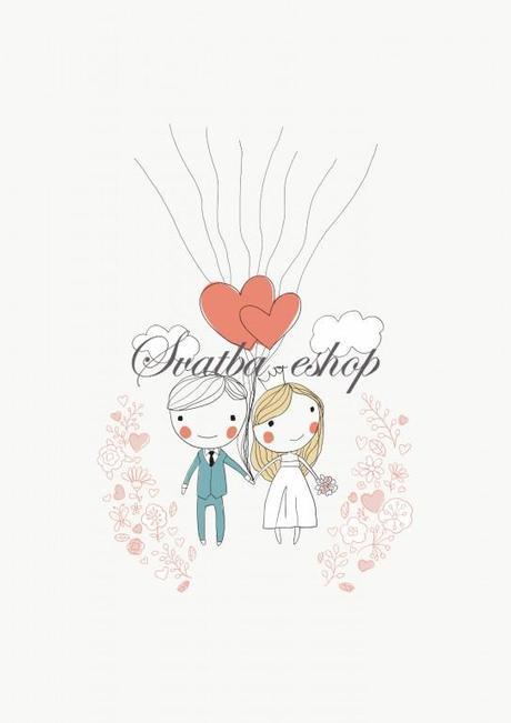 Svatební obraz na otisky balónky A4 - Obrázek č. 1