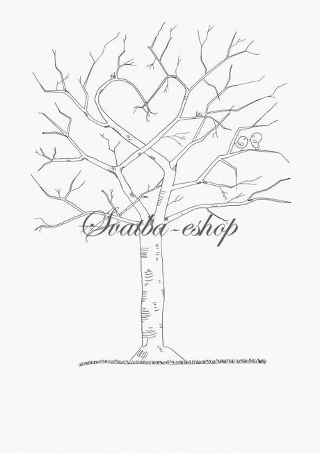Svatební strom černobílý s ptáčky A4 - Obrázek č. 1