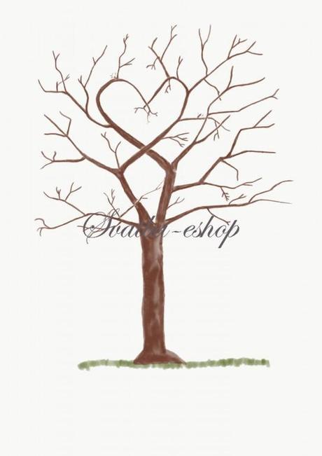 Svatební strom hnědý watercolor větve do srdce A3 - Obrázek č. 1