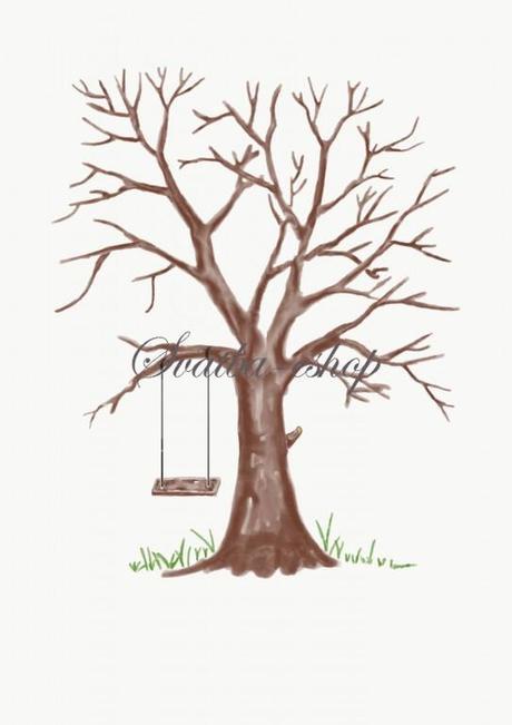 Svatební strom hnědý watercolor s houpačkou A4 - Obrázek č. 1