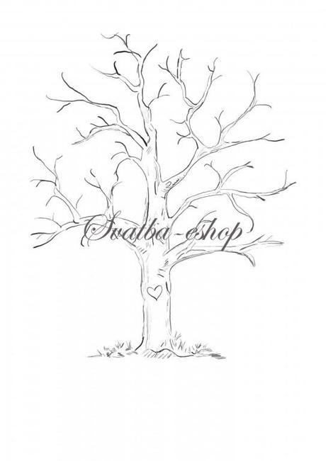 Svatební strom černobílý se srdcem A4  - Obrázek č. 1