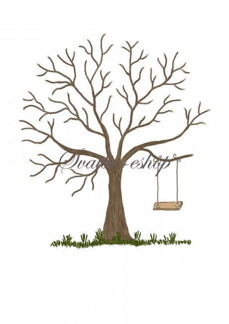 Svatební strom hnědý akryl s houpačkou A3 - Obrázek č. 1