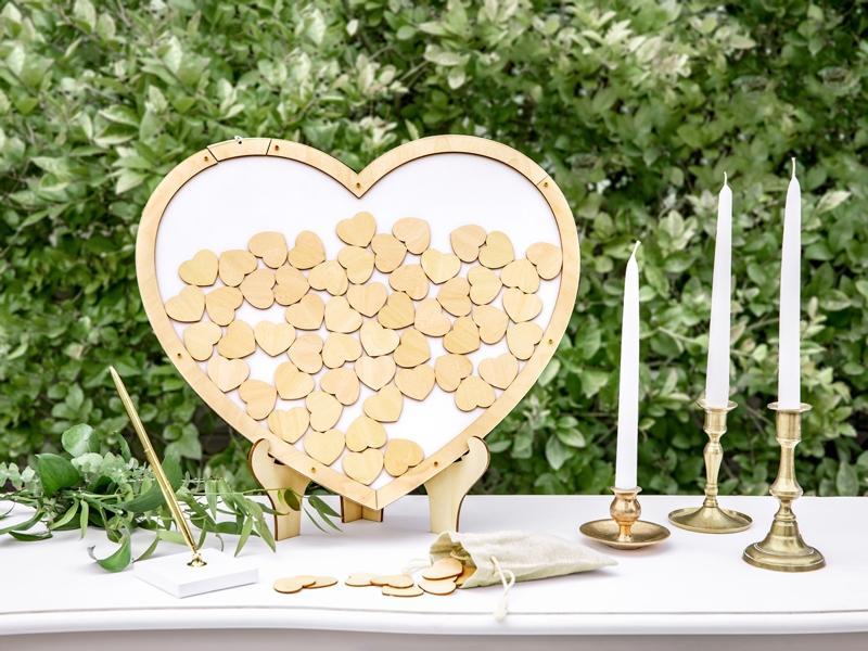 Svatební dřevěná kniha hostů obraz srdce - Obrázek č. 1