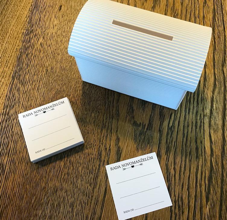 Set truhlička bílá a 50 ks kartiček Rada novomanže - Obrázek č. 1