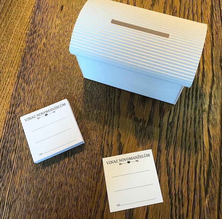 Set truhlička bílá a 50 ks kartiček Vzkaz novomanž - Obrázek č. 1