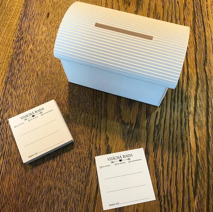 Set truhlička bílá a 50 ks kartiček Vzácná rada - Obrázek č. 1