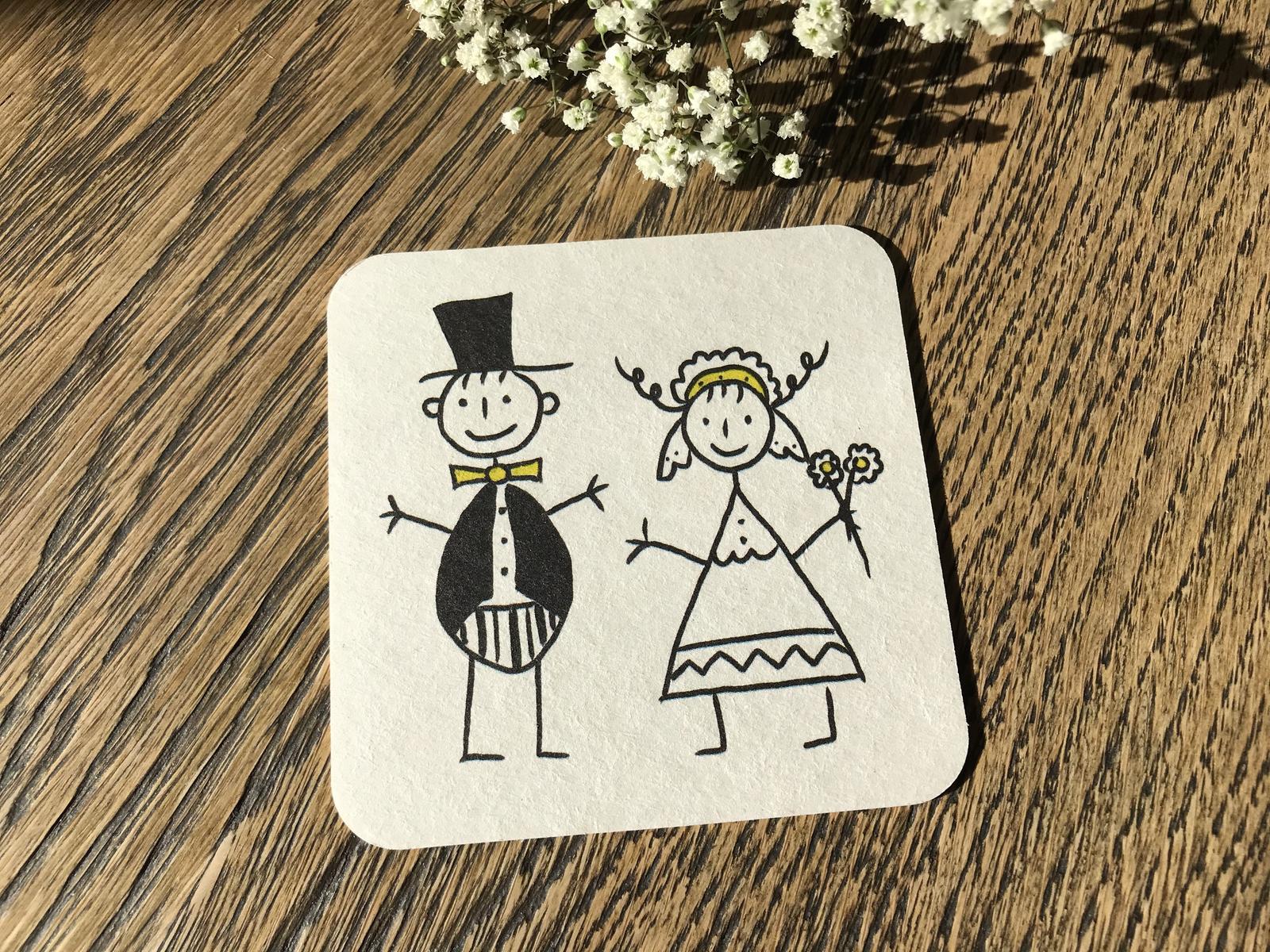Nápojový tácek hranatý Nevěsta a ženich - Obrázek č. 1