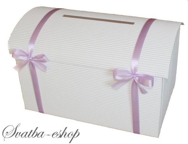 Pokladnička bílá velká s mašličkami - více barev - Obrázek č. 1