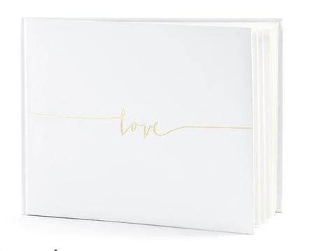 Kniha hostů ivory se zlatým nápisem Love - Obrázek č. 1