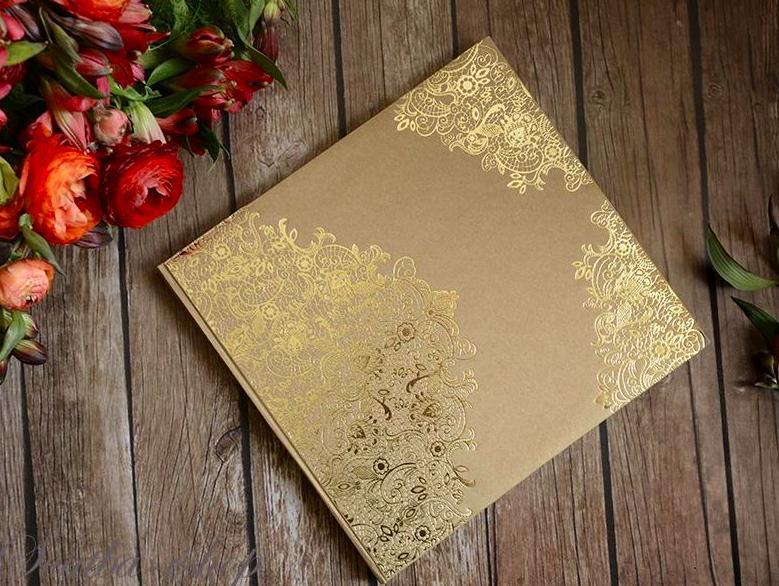 Kniha hostů přírodní se zlatým ornamentem - Obrázek č. 1