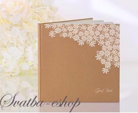 Svatební kniha hostů přírodní s potiskem květů - Obrázek č. 1