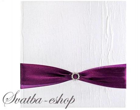 Kniha hostů bílá s purpurově fialovou stuhou - Obrázek č. 1