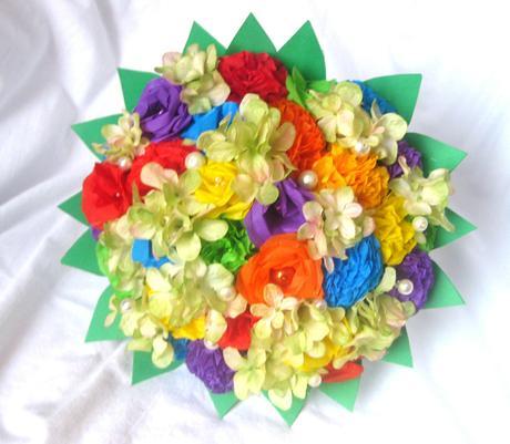 Duhová svatební kytice a korsáž - Obrázek č. 1
