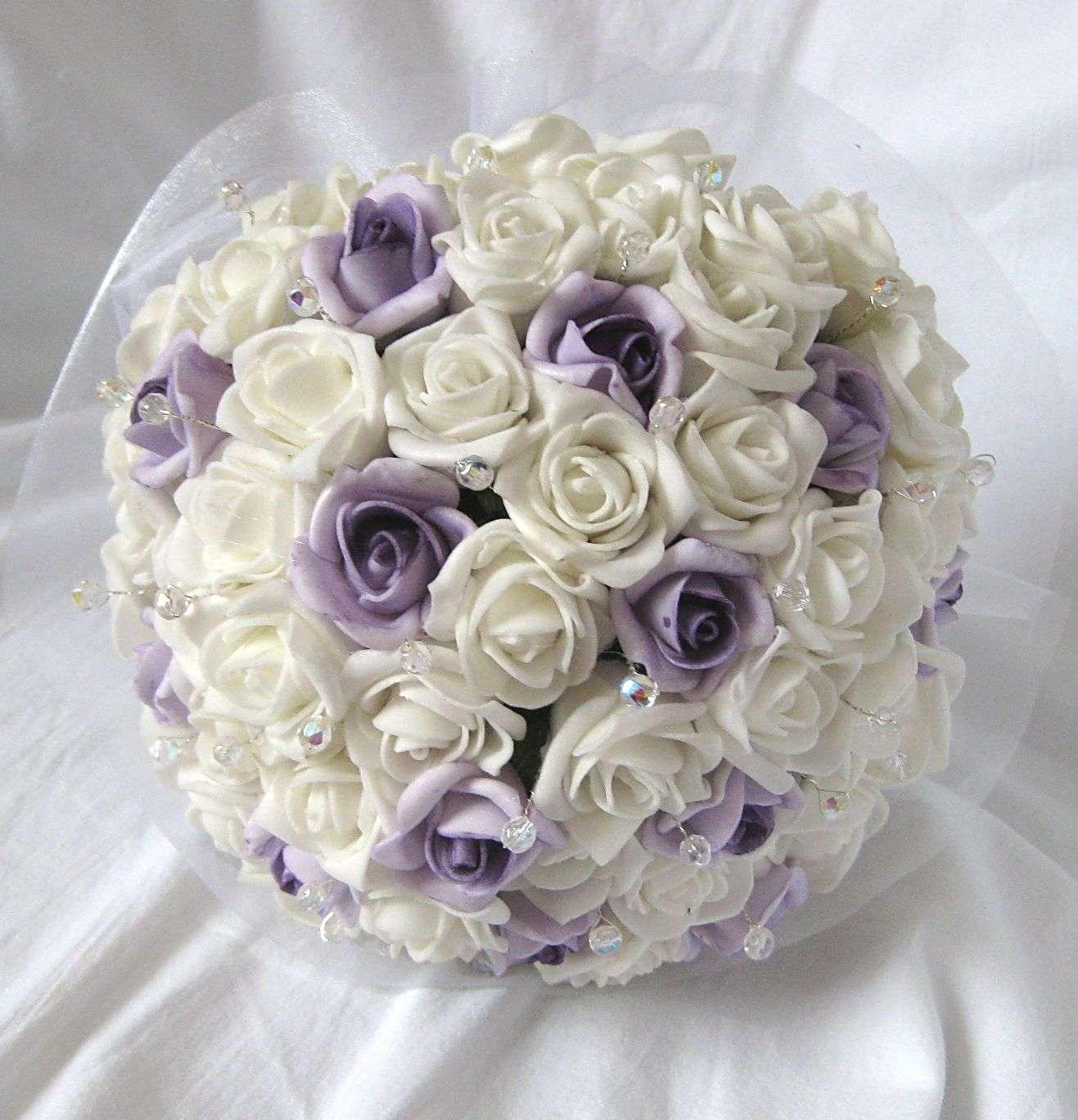 Svatební kytice - jednoduchá - bílá+lila - Obrázek č. 1