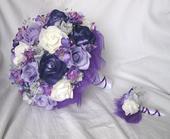 Svatební set - tmavě fialová + stříbrná,
