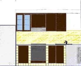 návrh kuchyňské linky - levá strana šíře 60 cm, vrchní skříňky, spodní na troubu, se zásuvkami a dvířka - Ikea, Faktum, Rockhammar hnědá