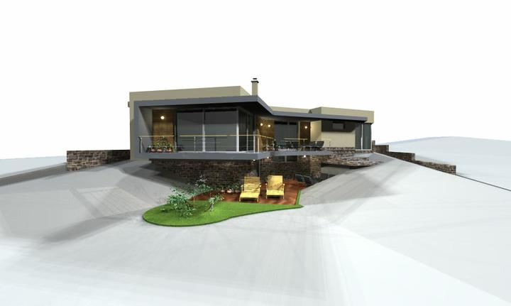 Individualny projekt svahovity pozemok - Projekt c.2 pohlad vychod
