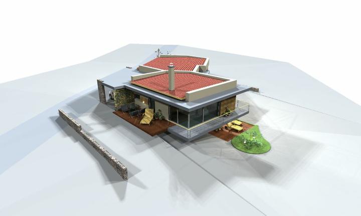Individualny projekt svahovity pozemok - Projekt c.8 pohlad juhovychod