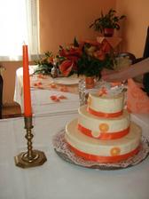 svatební dort a kytka