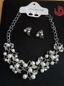 perlovo strieborný set - náhrdelník + náušnice,