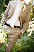 Pánský elegantní oblek béžové melírované barvy S/M, 48