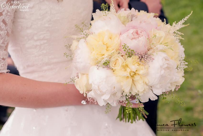 Žluto-růžové svatební pivoňky - Svatební kytice